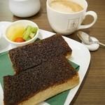 角パン専門店Cafe&マルシエルブ - 黒糖エスプレッソ シナモントースト(フルーツ添え・コーヒー付)1050円