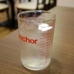 角パン専門店Cafe&マルシエルブ - お水のグラスが、アンカーホッキングのもの(メモリ付き)