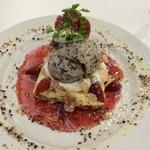 マーブルブランカフェ - イチゴミルククランチ&クッキークリームアイスクレープ