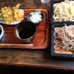 いちげん - 料理写真:セット(もりうどんともりそば) ¥840&天ぷら¥120