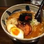 蓮嘉 - 濃厚鶏白湯らーめん+地鶏半熟卵+ワンタン(オマケ)
