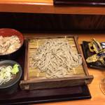 27966687 - 朝セット(アジご飯、盛りそば) 380円                       茄子天 100円                       プレモル 150円