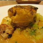 アベー - カレイのポワレ、甘海老のソース、キャベツのブレゼ