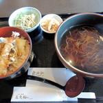 底曳船 - ランチセット 天丼+かけ蕎麦