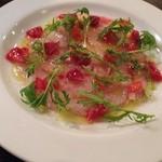 オステリアアルバ - 本日の鮮魚のカルパッチョ。こちらはヒラメ。