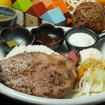 ろーたす - ヒマラヤ岩塩を振り、3日間低温熟成したお肉を調理しています。