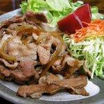 そば処 浅野屋 - (2009/9月)「焼肉ライス」メイン皿のアップ写真