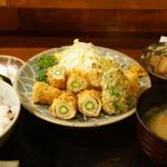 美松 - アスパラ肉巻きフライ(750円)の定食セット(+600円)