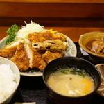 美松 - ササミとヤサイフライ(750円)の定食セット(600円)