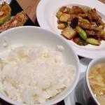 西安健菜キッチン - 中華ごはんセット 鶏と野菜の柚子胡椒炒め