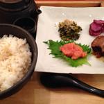 こめらく - 博多明太子と角煮のじゃこ高菜茶漬け
