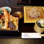 くぼ田 - ランチの天重と蕎麦 950円
