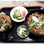 喜楽食堂 - ミニ野菜天丼・たぬきうどんセット 820円