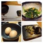 西新初喜 - 小鉢(お浸し)・お漬物・卵が付きます。