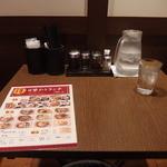 拉拉飯店 - おひとりさま用の、カウンターではない、片方が壁になっているテーブル