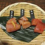 九州 熱中屋 - お通しの博多明太子テイスティング3種