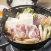 川原新田ドライブイン - 料理写真:コンロで煮て食べる『肉鍋』 玉子をつけてすき焼き風に♪創業からの名物メニュー!しょうゆ味と味噌味からどうぞ。
