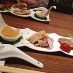 華吉 - お昼の¥1200-のコース、 前菜3種盛り