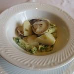 ル ボークープ - 新竹の子と蛤、青のりとリコッタチーズのニョッキの軽い煮込み
