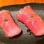 28210146 - 絶品牛にぎり(@ ¥ 410)真に口の中でとろけるような贅沢な味でした。