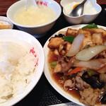 阿里城 - 生厚揚げと豚肉カキソース炒め定食