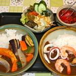 カレーハウス M&G - 料理写真:わがままセット¥1400 辛口を選択、辛さは後から来ます。