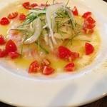 オステリアアルバ - 真鯛のカルパッチョ。新玉ねぎと芽ねぎのサラダ添え。