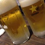 漁平の鍋 - 生ビール、普通のと大きいのと。