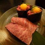 肉丸精肉店 - 牛トロ軍艦とハシネタ寿司