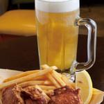浅草 たこ丸 - 唐揚げビールセット