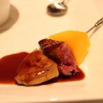 肉割烹 華家 新栄 - 宮崎産マンゴーにフォアグラと鴨肉