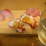 立ち喰い寿司とビオワイン ふく  - 金目鯛、たこ