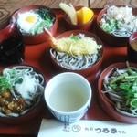 越前 つるきそば - 「好味そば」とろろ・おろし・天ぷら・なめこ・山菜の五品です。