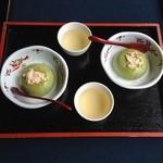 濱田屋 - 抹茶胡麻豆腐(和三盆・ミルク添え)500円