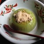 濱田屋 - 抹茶胡麻豆腐(和三盆・ミルク添え)