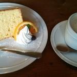 グーテ - シフォンケーキ(オレンジ)とカフェオレ