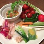 28377309 - フレッシュ野菜もりもり〜♪                       プチトマト狙い(๑•̀ुᴗ-)و ̑̑                       ホントはもっと食べてます!!(笑)