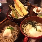 加賀上杉 - ふたみそば1500円 おろし蕎麦と、とろろ蕎麦の2種♥
