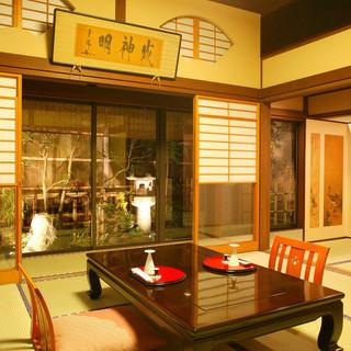 9室の日本間はすべてプライベート空間。大切なご接待の御席に‥