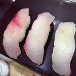 魚力寿司 - いさき・めじな・平目 520円