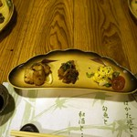 呑酔庵 味季 - First dish with three appetizers.