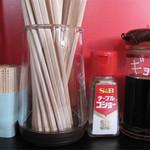 華らーめん - 卓上には、豚骨ラーメン屋さんによくある、ゴマ・紅しょうが・辛子高菜はなく、 コショウと餃子のタレのみです。