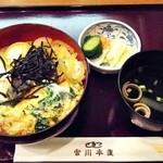 つきじ宮川本店 - 親子丼セット、ふたを取ると