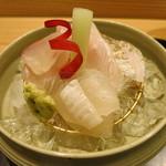 日本料理 太月 - 26年6月 千葉太刀魚焼き霜、千葉マコガレイ、大分伊佐木 ビーツ、蓮芋