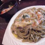 菜食バル あじゅ - ブロッコリーと豆乳とろろパスタ(サラダ付)