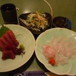 はし幸 - 料理写真:大根サラダ、マグロ・平目造り
