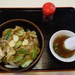 六文亭 - スタミナ丼、スープ、唐辛子