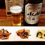 風味鳥 - お通しと瓶ビール