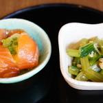 広尾 あいおい - お昼のコース2500円より 小鉢2品を先に
