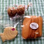 cafe de しっぽな - お土産買っちゃいました♡ おさかなちんすこう150円♪ チョコピー(?)クッキー120円♪ ラングドシャ200円♪